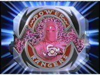 """MMPR Pink Ninja Ranger-to-Power Ranger morph sequence: """"It's morphin' time!..Pink Ranger power!"""""""