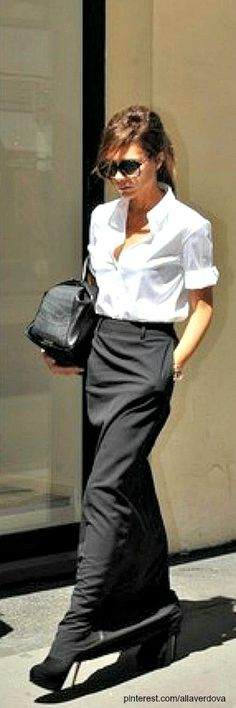 classic white shirt with long black skirt and high heels - street style - VB