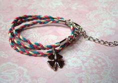 Wickelarmbänder - Wickelarmband Glücksklee silber bunt - ein Designerstück von MiMaKaefer bei DaWanda