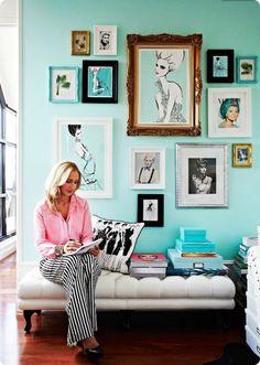 decorology: Inside the fabulous home of fashion illustrator Megan Hess ***waiting room Style At Home, Casa Hygge, Tiffany Blue Walls, Room Decor, Wall Decor, House And Home Magazine, Home Fashion, Fashion Art, Fashion Prints