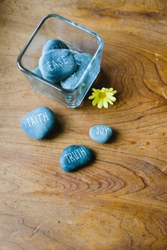 Make these creative rocks for your daily intentions activity.