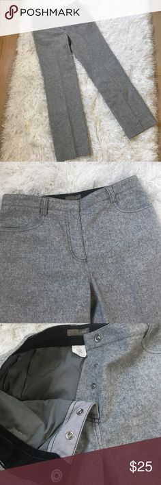 """J.Crew Wool Trousers in gray J.Crew Wool Trousers in Gray.                                               ▪️Women's Size 4 ▪️Excellent Used Condition ▪️Snap fly ▪️70% Wool, 28% Nylon, 2% Spandex ▪️Waist 29"""" ▪️Inseam 31"""" J. Crew Pants Trousers"""