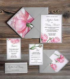 Watercolor painting Invitation Pink Peony Grey by forlovepolkadots