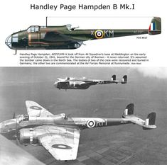 Handly Page Hampden Mk. Navy Aircraft, Ww2 Aircraft, Military Aircraft, Old Planes, Vintage Airplanes, Battle Of Britain, Nose Art, Royal Air Force, Model Airplanes