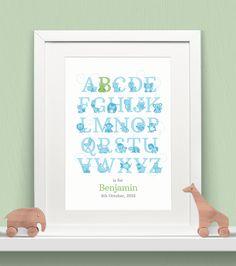 Personalised Animal Alphabet Print - Boys