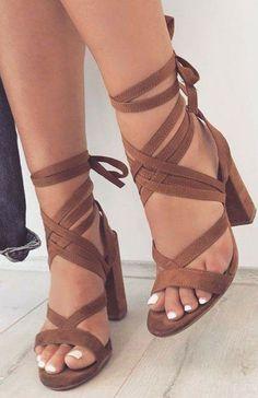 Chunky heel, camel suede strappy high heel sandals. Womens high heels, summer high heels, Coachella outfit ideas, womens summer shoes, high heel sandals, chunky high heels.