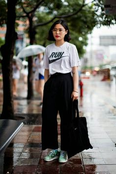 Athlete + Classy ✔oversized athletic shirt ✔colored kicks ❌black culotes