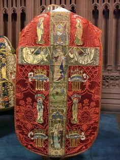 Red Chasuble Back  Back of the red chasuble from the low mass set 1904 made by the Sisters of Bethany, designed by Ninian Comper for St Mark's Church Philadelphia
