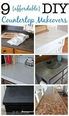 10 countertop makeovers on a budget. Ready to redo countertops in your kitchen but don't want to spend a fortune? Do you own countertop makeover with one of these DIY countertops! Laminate Countertops, Bathroom Countertops, Painted Countertops, Stone Countertops, Concrete Overlay Countertops, Penny Countertop, Countertop Paint, Concrete Counter, Kitchen Redo