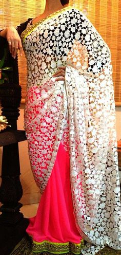 Gorgeous and unique white and pink cut out sari...I want this now!!
