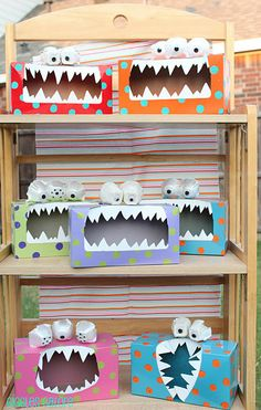 monsters made from old tissue boxes