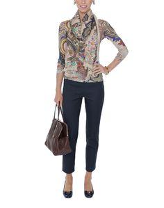 Beige Paisley Cashmere and Silk Knit Top | Pashma | Halsbrook