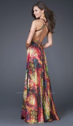 Another image of La Femme Print Chiffon Beaded Prom Dress 15952