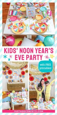Let's ring in the Noon Year! Kids love to celebrate New Year's Eve, but there's no need to wait for the moon when you can celebrate at noon! This bright and colorful Kids' Noon Year's Eve at-home party is full of laid-back family fun. From the DIY decorations, party food, FREE decor printables, pillow floor seating and towers of donuts, to the noisemakers and ribbon sticks, this party is a perfect way to create memories and kick off the new year. Head to justaddconfetti.com for even more ideas!