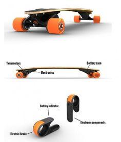 Skate com motor elétrico e contrôle remoto