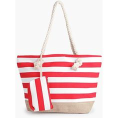 Boohoo Anna Striped Rope Handle Beach Bag ($20) ❤ liked on Polyvore featuring bags, handbags, red, white cross body purse, envelope clutch, white crossbody purse, white crossbody handbags and beach bag