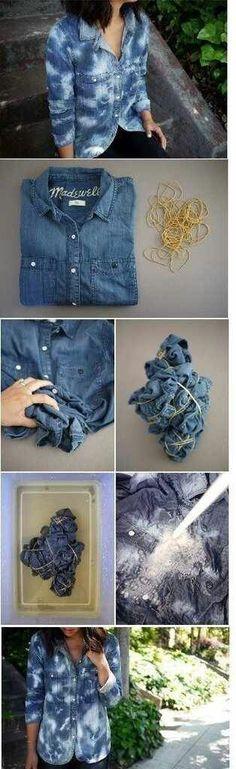 DIY bleached jean shirt I love bleached clothing Shibori, Diy Moda, Bleach Pen, How To Dye Fabric, Dyeing Fabric, Diy Shirt, Diy Clothing, Tye Dye, Refashion