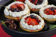 Strawberry, blueberry and cherry tartlets to celebrate the American 4th of July are a delicious pastry for any summer afternoon tea!  #pastry #tarts #tartlets #berries #afternoontea #teatime Fresh Strawberry Pie, Strawberry Blueberry, Fresh Fruit, Fruit Plus, Tart Molds, Egg Tart, Cookie Crust, Whipped Topping, Different Recipes