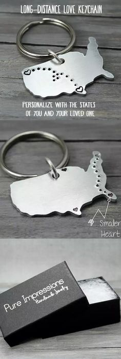 Make one special photo charms for you, 100% compatible with your Pandora bracelets.  These charming key chains are stamped with hearts and tiny dots connecting them together. They're perfect for military families, kids away from home, long distance relationships and even sending your 'babies' back to school. Pure Impressions creates its hand stamped jewelry and inspiration jewelry one at a time.