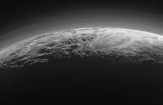 Just 15 minutes after its closest approach to Pluto on July 14, 2015, NASA's New Horizons spacecraft looked back toward the sun and captured this near-sunset view of the rugged, icy mountains and flat ice plains of Pluto, extending to the horizon. The smooth expanse of the informally named icy plain Sputnik Planum (right) is flanked to the west (left) by rugged mountains up to 11,000 feet (3,500 meters) high, including the informally named Norgay Montes in the foreground and Hillary Mo...