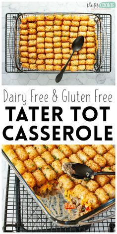 We revamped a family favorite and made it allergy friendly! Our Dairy Free Tater Tot Casserole is creamy, cheesy, and delicious, plus it has lots of veggies and doesn't call for condensed soup!  It's a great comfort food recipe that has quickly become a favorite meal in our home. | thefitcookie.com #dairyfree #glutenfree #casserole #groundbeef #allergyfriendly #freefrom