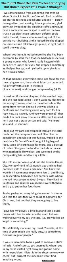 She Did Not Want Her Kids To See Her Crying But Never Expected This From A Stranger.-- a heartwarming story!