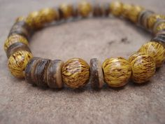 Mens Bracelet Coconut Wood Yellow Wood Gifts by MakeMeSmileJewelry,