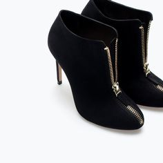 High heel ankle boot with zip from ZARA