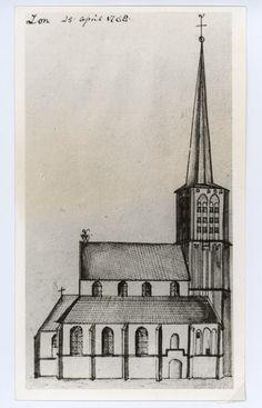 Foto van de pentekening van de Sint - Petrus te Son. : Foto genomen uit het boek Handschriften van H. Verhees. ( 1744 - 1813 ). pag 25 Atelier Schreurs (fotograaf) - 1971
