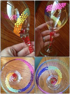 Check Out These Stunning Hand Painted Wine Glasses Diy Wine Glasses, Hand Painted Wine Glasses, Painting On Wine Glasses, Eye Glasses, Wine Glass Crafts, Wine Bottle Crafts, Wine Bottles, Wine Craft, Wine Decanter