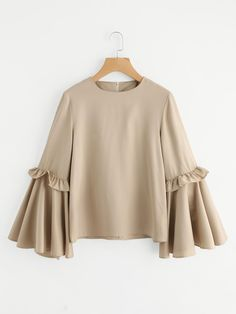 #MakeMeChic - #MAKEMECHIC Frilled Bow Tie Trumpet Sleeve Top - AdoreWe.com