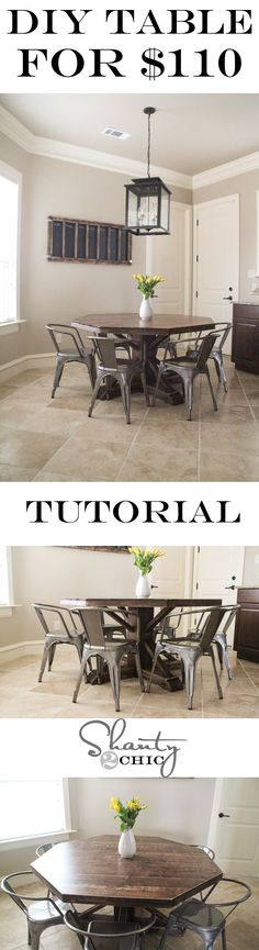 DIY Round Wooden Table For 110 Kitchen ChairsDining Room TablesPatio TableDiy Furniture ProjectsDiy