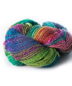 This Watercolor Sparkle Recycled Silk Yarn by Darn Good Yarn is perfect! #zulilyfinds