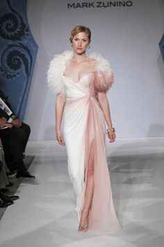 Mark Zunino MZBS1237    Off white to blush hand ombre dyed silk chiffon hand draped gown with built in corset, front slit and optional matching ombre dyed ostrich feather bolero