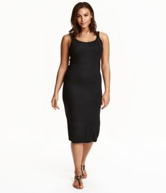 Black. Sleeveless, calf-length dress in soft viscose jersey.