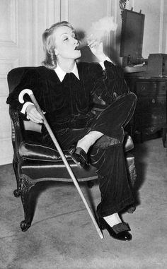 marlene deitrich - velvet lounging suit and cane