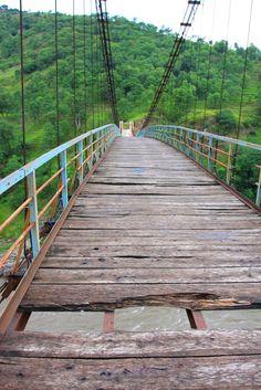 First suspension bridge upstream of Kohala checkpoint, broken timber planks, Kashmir