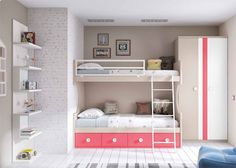 Dormitorio infantil con literas librería y armario
