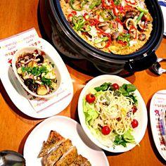 食べたいままに作ったw 食べ過ぎちゃった - 43件のもぐもぐ - パエリア、アビージョ、スパサラ、チキンハーブソテー by teketeke05