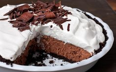 An easy chocolate mousse pie recipe with a crunchy chocolate crust, rich mousse filling, and sweet whipped cream topping.