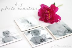 DIY Photo Coasters - a great Valentine's Day gift for Grandparents www.julieblanner.com