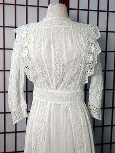 Lawn Tea Antique Lace Dress Gorgeous White Edwardian Victorian