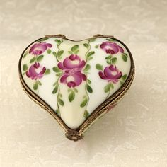 Limoges heart with roses