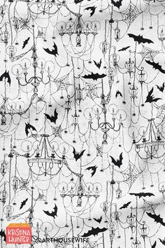 Creepy gothic spiderweb chandeliers available in fabric, wallpaper and home decor by Kristina Hunter on Spoonflower. Spooky halloween decor for the holiday. #halloweenfabric #halloweenwallpaper #halloweendecor #gothicdecor #gothichalloween #bats Gothic Wallpaper, Spooky Halloween Decorations, Goth Home, Gothic Halloween, Halloween Fabric, Halloween Wallpaper, Kids Prints, Surface Pattern Design, Happy Fall