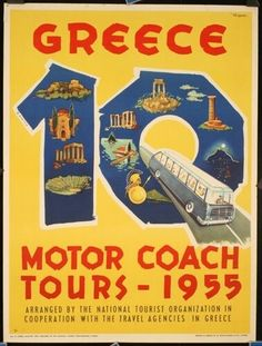 Lot of 3 Travel Posters Greece : Lot 300 Tourist Agency, Travel Agency, Tourism Poster, Poster Ads, Vintage Travel Posters, Vintage Ads, Old Posters, Coach Tours, Travel Tags