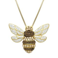 Sterling Silver Luminesse Smokey Quartz & Golden Shadow Swarovski Bumble Bee Crystal Necklace - Walmart