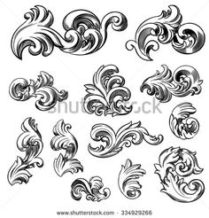 Set of vector vintage baroque engraving floral scroll filigree design. Hand drawn illustration