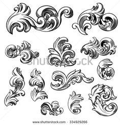 Set of vector vintage baroque engraving floral scroll filigree design. Hand drawn illustration