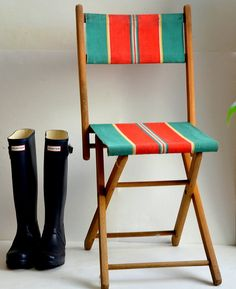 For the Patio?   Folding garden chair camping fishing French vintage by FRENCHWAVE