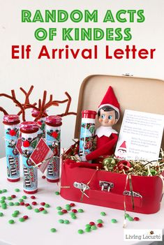 Random Acts of Kindness Elf Arrival Letter and gift ideas for your Christmas Elf. Encourages kids to give back and be Secret Santa. Christmas Elf, Christmas Crafts, Christmas Ideas, Christmas Printables, Christmas Decorations, Christmas Stuff, Christmas Deserts, Christmas Thoughts, Office Christmas